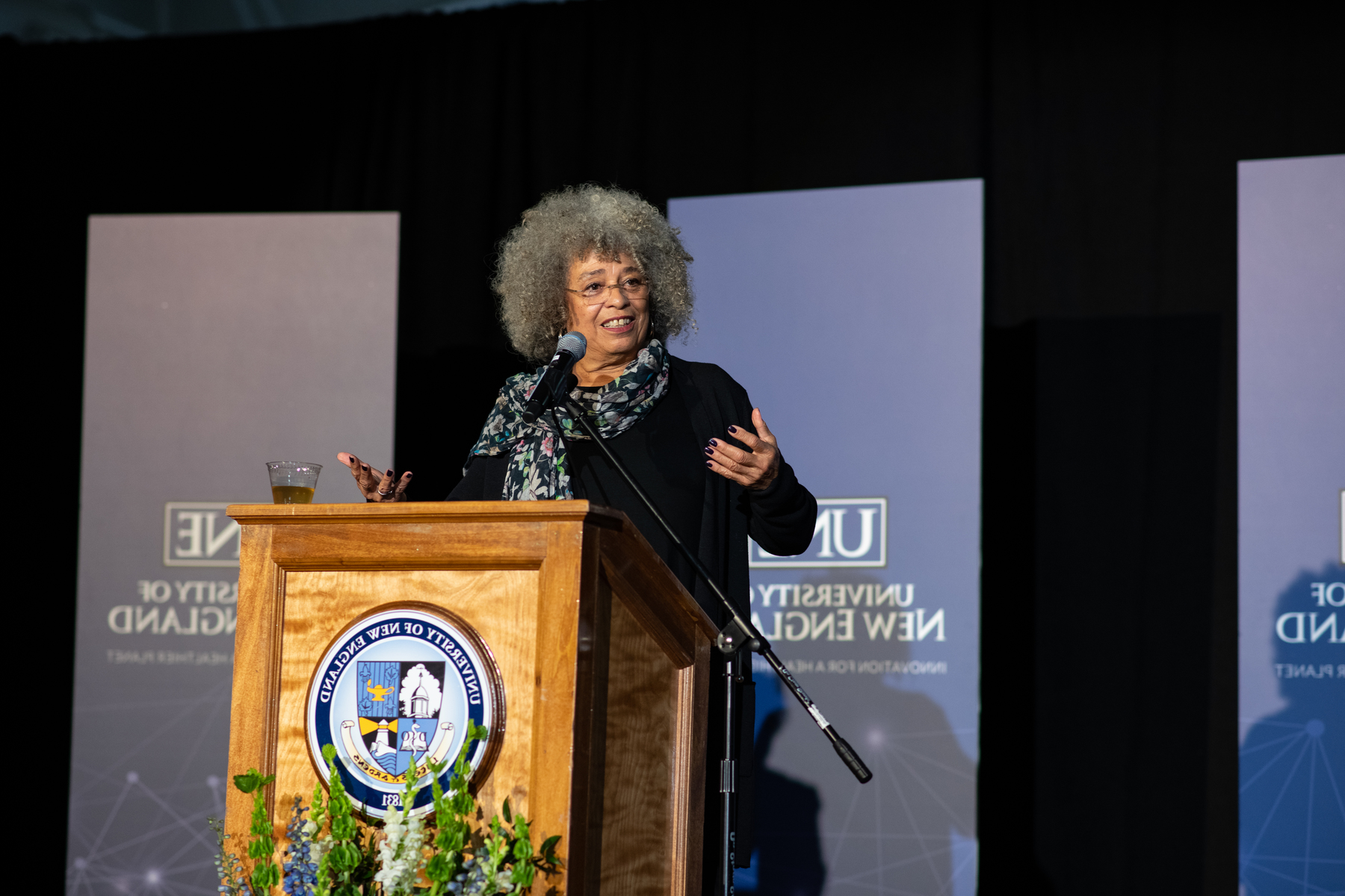 Angela Davis faces a record-breaking crowd at her talk in January 2019
