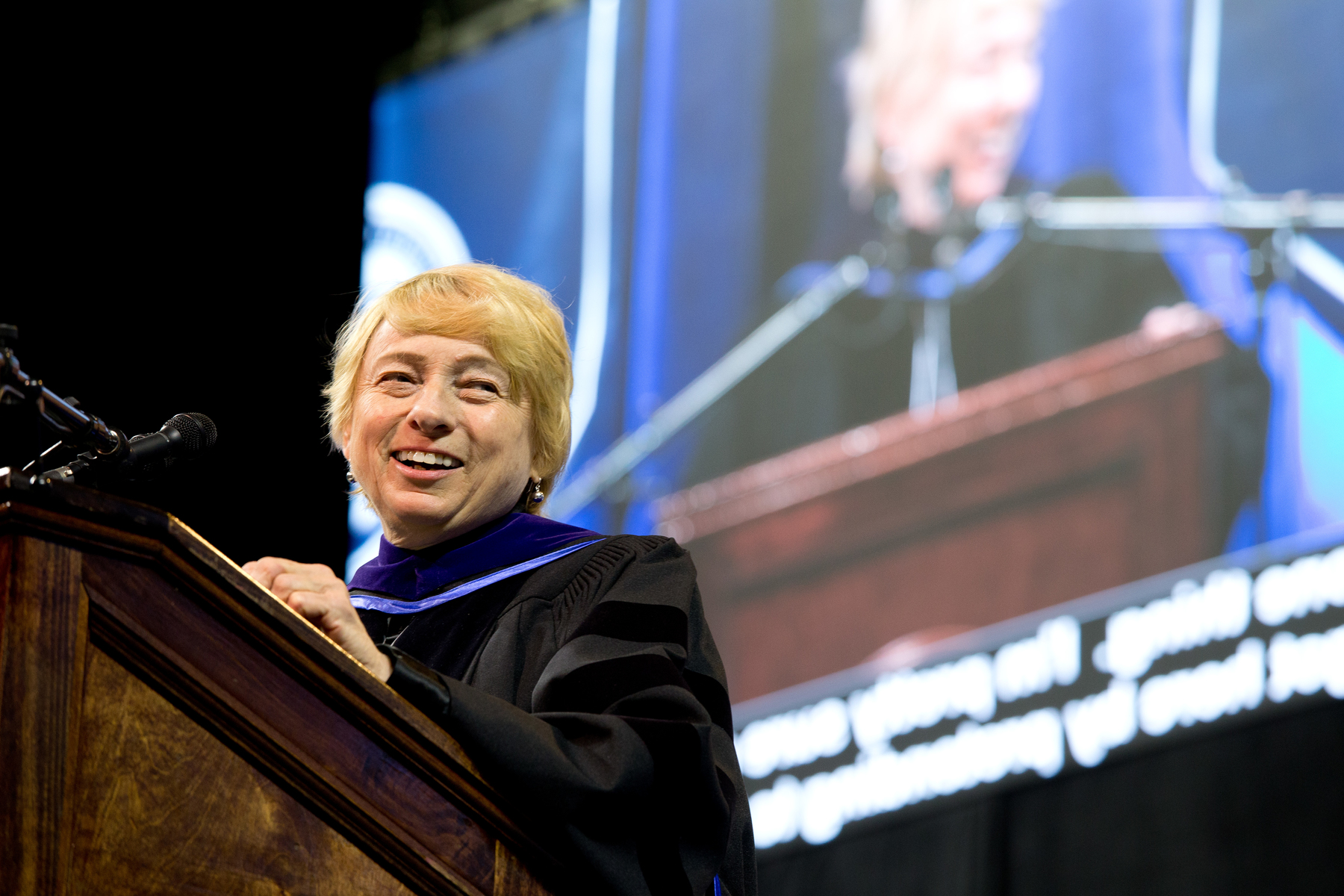 Maine's first female governor Janet Mills address the crowd at the U N E commencement ceremony in 2019